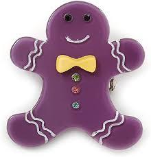 Un bonhomme violet à la fourrure jaune.